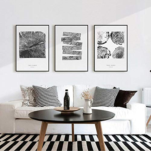 Modern Tree Rings Wall Art Canvas Painting Black White Posters and Prints Nordic Decoration Picture for Living Room Home Decor 16X24Inx3(40X60Cmx3) Unframed