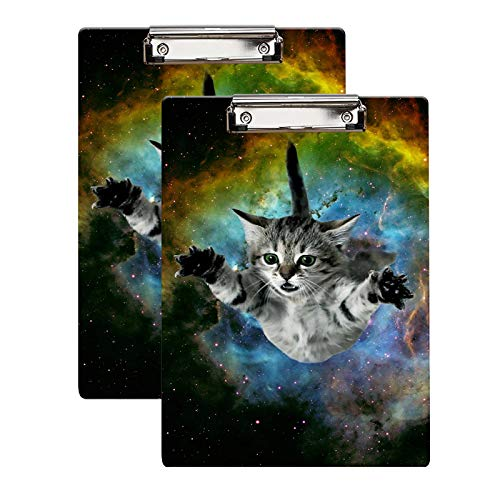 """Britimes Clipboard, 2-Pack, Decorative Office School Hardboard Wood Nursing Clip Board and Pull for Standard A4 Letter Size Galaxy Cat 12.5"""" X 8.5"""""""