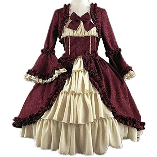 LPZW Vestido Retro Medieval Vestido de Corte Retro Dama Real Vestido de Bola Cuadrado Cintura Apretada Cintura Bowknot Mujeres Elegante Disfraz Vestido Ropa muj (Color : Wine Red, Size : Medium)