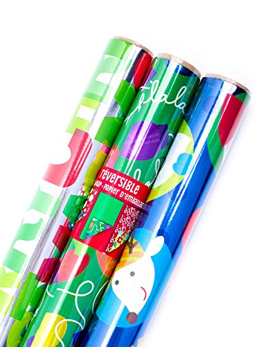 Hallmark Reversible Christmas Wrapping Paper Bundle, Foil Kids (Pack of 3, 60 sq. ft. ttl.)