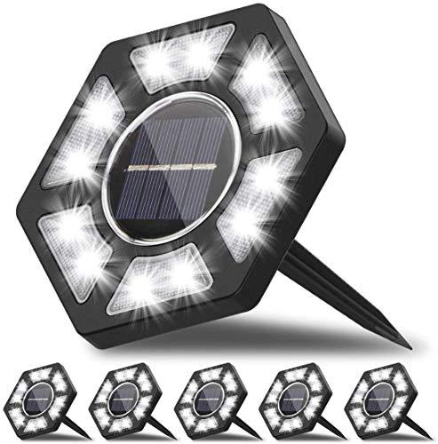 6Pcs Luces de Tierra Solares, Salandens 12 LED Lampara Solar Jardin Impermeable Lámpara en el Exterior Luz Enterrada del Jardín Decoración de Patio Lawn,Luces Solares LED Exterior Inalámbricas IP65 Impermeable, (6Piezas) (Blanco Cálido 6Pcs) [Clase de eficiencia energética A+++