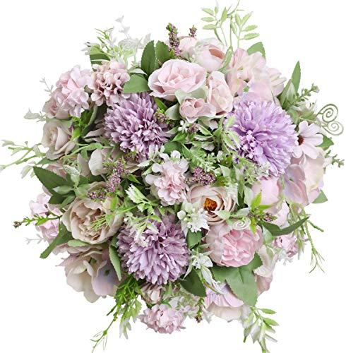 Ruiuzi Flores Artificiales Peonía Seda Hortensia Ramo de Flores Decoración de Plásticos Flores Realistas Decoración de Boda Decoración de Mesa