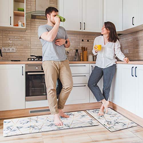 Delxo Kitchen Rug Sets,2 Piece Anti-Fatigue Floor Mat Waterproof Non-Slip Standing Mat Ergonomic Comfort Floor Mat Rug for Home,Office, 18'x47' +18'x30' (Marble)
