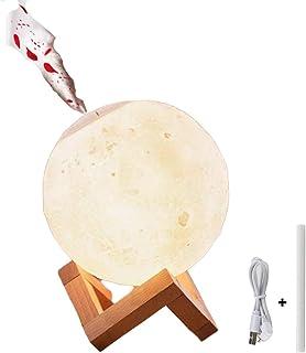 Konesky Lámpara de luna 3D, 880ML Humidificador de Aire Noche Purificador de Niebla Fría USB/Batería Regalo de Navidad Recargable para Niños y Adultos