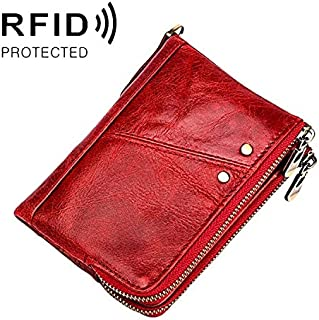 CattleBie Antimagnetic RFID Top-grain Leather Crazy Horse Texture Men Business Leisure Wallet (Color : Red)