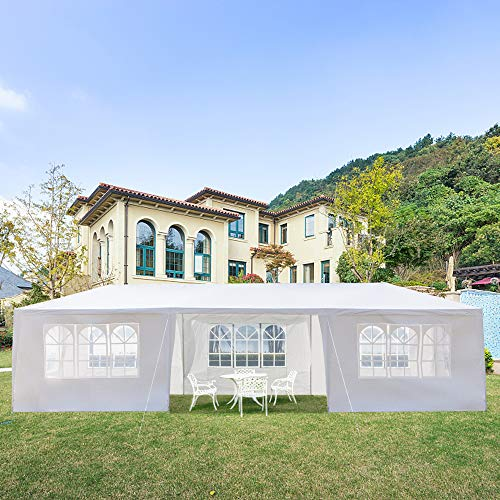 KTN Outdoor Tent Party Tent Wedding Tent 10x30FT Outdoor Patio Gazebo BBQ Shelter with 8 Removable Sides Walls for Party Garden