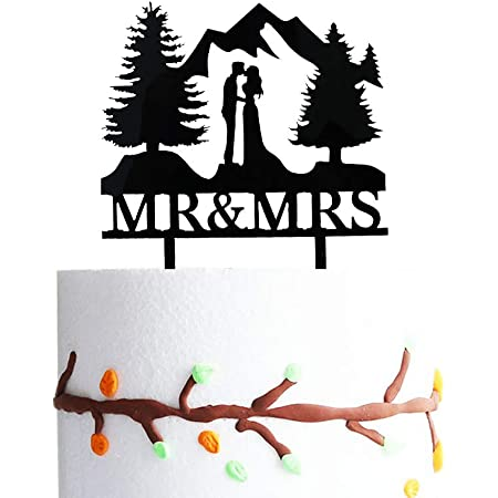 Amazon Com Mountain Wedding Cake Topper Outdoors Wedding Cake Topper Mr Mrs Kiss Cake Topper Hiking Wedding Cake Topper Forest Theme Cake Topper Mountain Cake Topper Toys Games