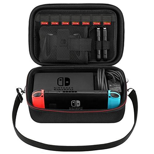 MoKo Funda Compatible con Nintendo Switch, Caja de Almacenamiento Portable de EVA, Bandolera Protectiva de Viaje con Correa Ajustable y Cremallero para Nintendo Switch - Negro