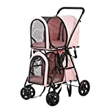 Vilobos Foldable Pet Stroller, Double Decker Stroller on Wheels for Small Medium Dogs and Cats (Pink)