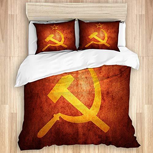 VORMOR Funda nórdica Amarillo Bandera Rusa Comunista soviética Revolución Armas envejecidas Artístico,Microfibra Lavada al Agua Juego de Cama de(140 * 200cm)con Cremallera y Esquinas