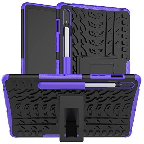Carcasa de telefono para Samsung Galaxy Tab S7 T870 / T875 Textura de neumáticos TPU + PC Funda Protectora con Titular (Color : Purple)