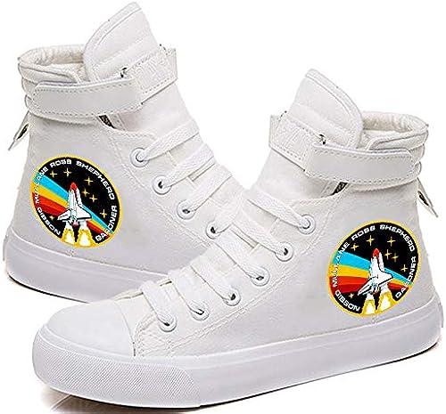 1 Pcs Unisexe NASA chanteuse High Top Idole paniers paniers Tissu Chaussures de Loisirs Sport Grande Taille pour Homme Femme Adolescent 12 Blanc,38
