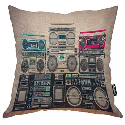 Funda de almohada para grabadores retro, estilo vintage, diseño de la vieja escuela, cinta de cassette, 24 x 60,9 cm, cuadrada, funda de cojín para el hogar, coche, decoración de algodón y lino