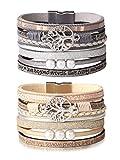 sailimue 2 Pcs Bracelet en Cuir de l'arbre de Vie de pour Femmes Fille Bracelet Tissé Brassard Multicouche à la Main Vintage Wrap Bracelet avec Boucle Magnétique Cadeau pour Epouse Mère
