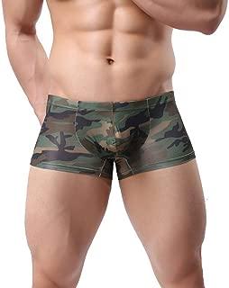 Elogoog Men's Sexy Army Camouflage Low Rise U Pouch Briefs Bulge Underwear Men's Boxer Briefs