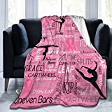 Gymnastics Dance Fight Breast Cancer Fleece Blanket Plush Throw Fuzzy Lightweight for Couch Bed Sofa