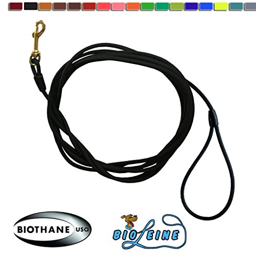 bio-leine Schleppleine aus runder Biothane - 3 Meter Länge, Ø 6,4 mm, für kleine und große Hunde, schmutz- und Wasserabweisende Hundeleine Schleppleinen, Schwarz