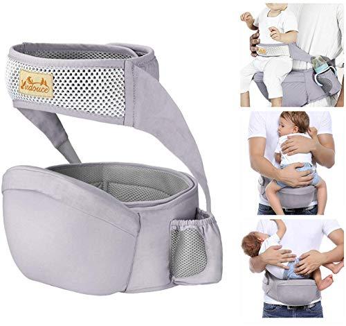 Viedouce Baby Hüftsitz Ergonomische mit Sicherheitsgurt Schutz,Reine Baumwolle Leicht und atmungsaktiv,Ergonomischer Leichte Taille Hocker Baby Hüftsitz für 6-36 Monate (Grau)