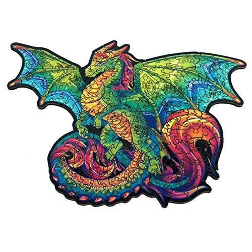 Puzzles de madera para adultos y niños – Puzzles únicos en forma de animales – dragón volante inteligente – Ideal para la colección de juegos en familia