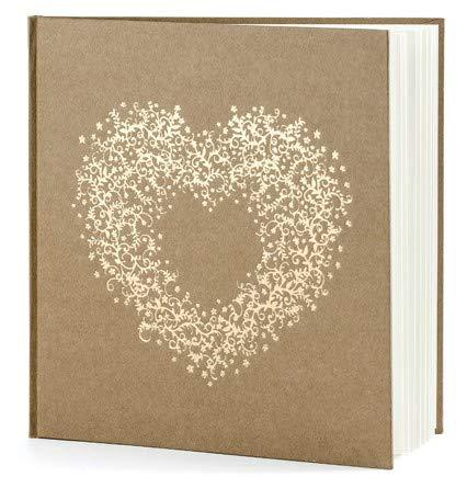jakopabra Hochzeits Gästebuch aus Kraftpapier mit Goldener Herzverzierung