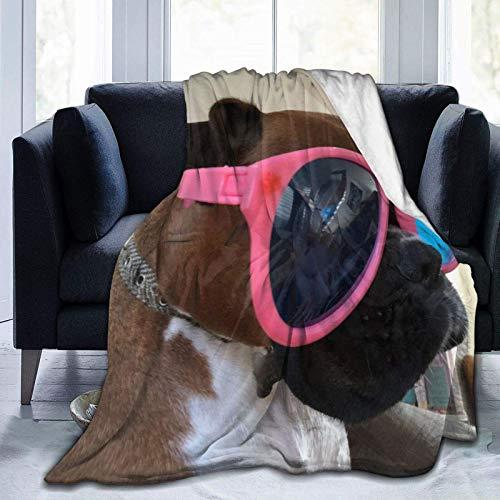 Perro Boxer con Gafas de Sol, Manta Ultra Suave, Manta de Cama súper Suave y acogedora para Cama, sofá, sofá, Sala de Estar, 60x50