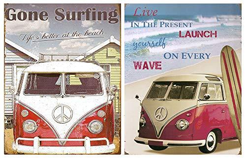 Cuadro Furgoneta Vintage de Surf Hippie/Placas Madera. Set de 2 Cuadros de 19 cm x 25 cm x 4 mm unid. Adhesivo FÁCIL COLGADO. Adorno Decorativo. Decoración Pared hogar/habitación Infantil