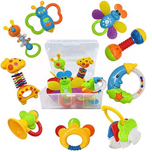 9pcs Baby First Rattle Teether Toy Gift Set with Storage Box for Infant Newborn Baby Boy 0 3 6 9 12 18Month Blue