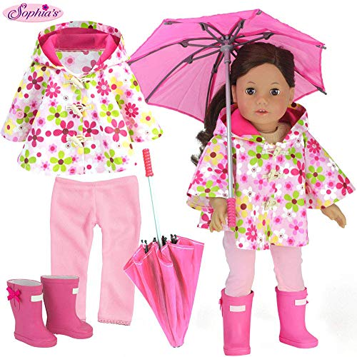 Sophia's 4 Pc. Doll Clothing Set: Floral Doll Poncho with Leggings, Umbrella and Rain Boots Fits Both 15 Inch Baby Doll and 18 Inch Dolls