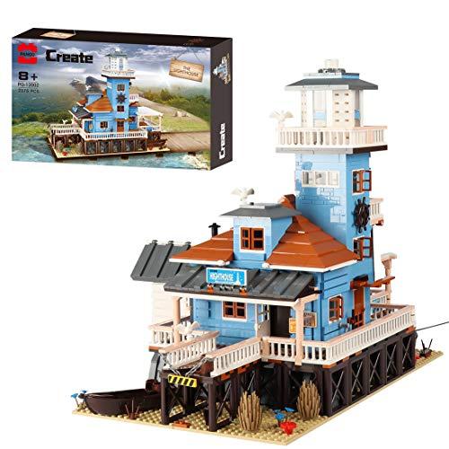 Sunbary Faro en el mar, bloques de construcción de construcción, modelo de arquitectura, casa modular Building, 2375 piezas, bloques de sujeción, compatible con Lego