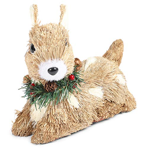 Merry Christmas Deer Figurine, Rustic Holiday Home Decor, Self Standing (7.5 x 3 x 6 in)