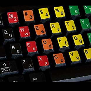 Qwerty Keys English Learning Upper/Lower Case Coloured Keyboard Stickers