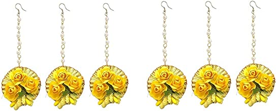 URBAN SIGMA Flower Maang tikka Jewellery Set for Wedding | Baby shower | Haldi | Mehandi | Party in Yellow and Golden colo...
