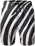 Belongtu Zebra Striped Quick Dry Elastic Lace Boardshort Beach Shorts Pants Swim Trunks Casual Mens Swimsuit with Pockets Hommes Short Pantalon de Plage Pantalons Chauds