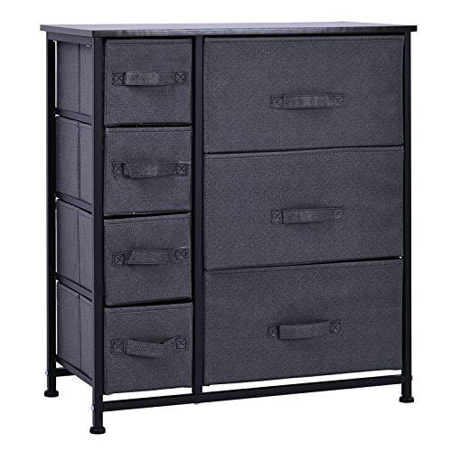 HOMCOM Schubladenschrank Aufbewahrungsschrank mit faltbaren 7 Stoffschubladen Metallgestell + Holz + Vliesstoff Grau 63,5 x 30 x 71 cm