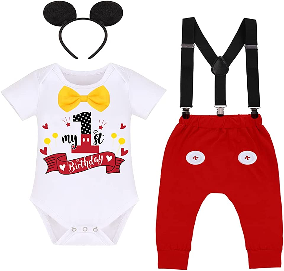 Baby Boy Mouse 1st Birthday Outfit Bowtie Romper + Suspenders + Pants + Headband Cake Smash Tuxedo Set for Photo Shoot