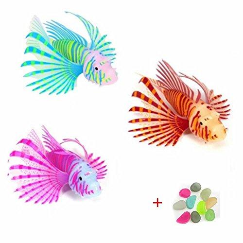 GOOTRADES 3 Stk Silikon Leuchtende Künstliche Feuerfische Aquarium Ornament, Farbe variiert, 2 Größe, mit 10 Stk Frei Kieselsteine (S)