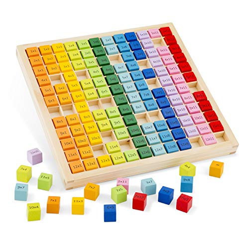 New Classic Toys 10511 Times Table Tray, Multi-Colour Colour, Lean to Count-Abacus