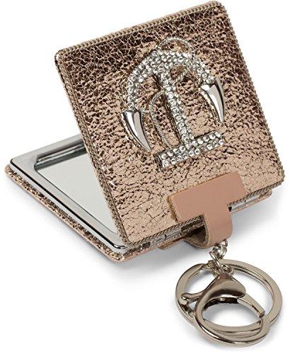 styleBREAKER vierkante zakspiegel met strass anker en ketting, 1X / 3X vergroting, compacte spiegel, inklapbaar, 2 pagina's 05070005, Farbe:Roos goud metallic