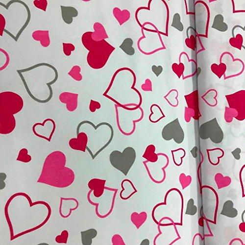 Erstklassiger Baumwollstoff 0,5lfm, 100% Baumwolle, modische Muster, Breite 160cm – rosa Herzen Love