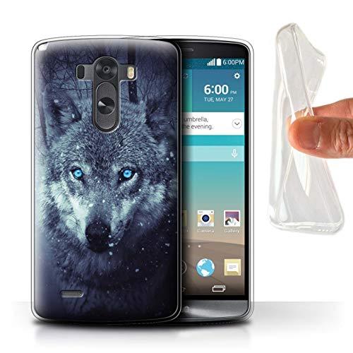 eSwish Carcasa/Funda TPU/Gel para el LG G3/D850/D855 / Serie: Lobo Depredador Animales Salvajes - Ojos Azules Fantasia