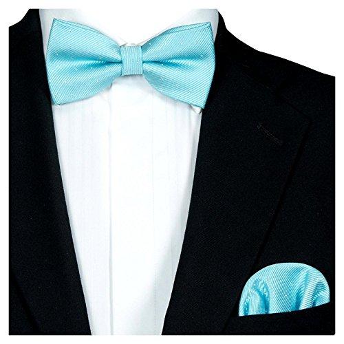 GASSANI 2Tlg Fliegenset, Festliche Tuerkise Herren-Fliege Silber Gepunktet, Hochzeitsfliege Anzug-Schleife Vor-Gebunden Ein-Stecktuch Vorgefaltet