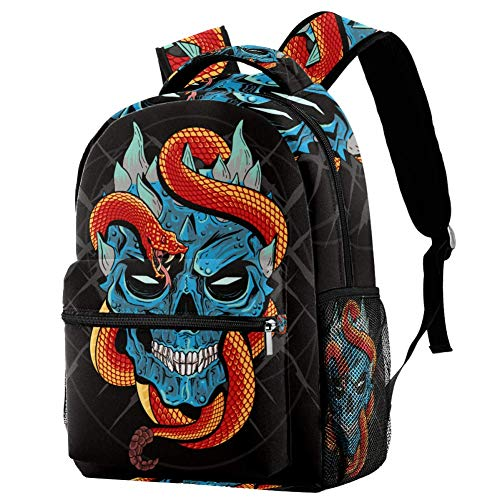 Calavera y serpiente niñas bolsas escolares, niños niñas niñas mochila escolar escolar, escuela primaria, elegante mochila escolar para niños niñas, mochila multifunción ligera de viaje