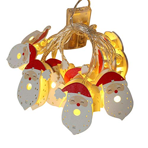 Yyooo 30 bombillas LED de hierro forjado hueco doble cara Santa Claus luces cadena 4,5 m – Guirnalda de luces navideñas