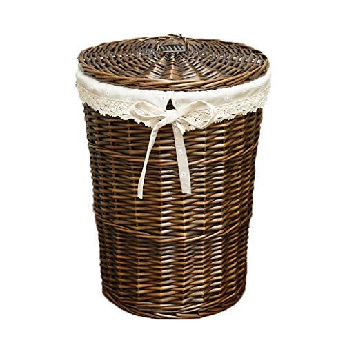 LCSHAN Cesto de Ropa Sucia Tejido de ratán cesto de Ropa Sucia Cubierto cesto de Ropa Sucia Barril 篓 Ropa de Mimbre Canasta de Almacenamiento IKEA (Color : Brown Covered Snowflakes, Size : M)