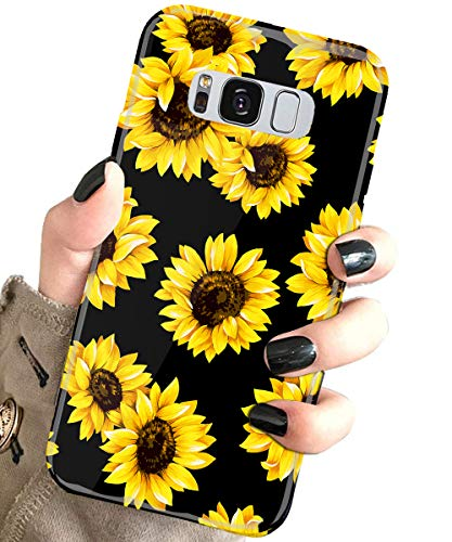 J.west Case for Galaxy S8 Vintage Floral Cute Yellow Sunflowers Black Soft Cover for Girls/Women Flexible TPU Silicone Slim fit Fashion Design Pattern Drop Protective Case for Samsung Galaxy S8