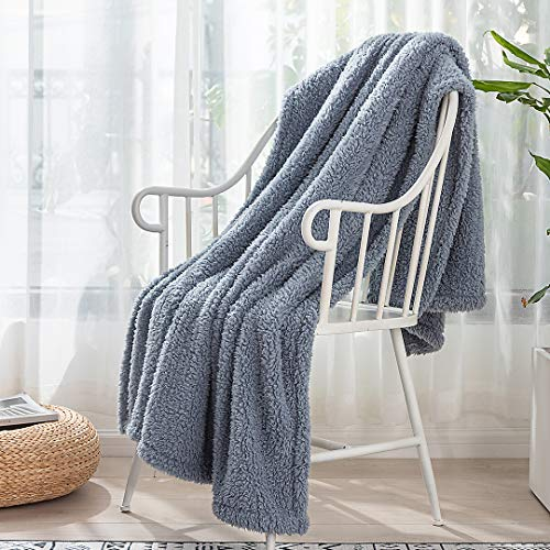 """N/A.Professional Brand Bed Throw Blanket , Super Soft Lightweight Blankets and Throws for Bed/Sofa, Sherpa with Double-Sided Bubble Fleece Blanket , Fluffy Cozy Plush Fuzzy Comfy Blanket. Blue 50""""60"""""""