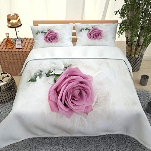 MQBHJI Set Biancheria da Letto 3 Pezzi, Copripiumino Matrimoniale 260X240cm con 2 Federe 50X80cm, Copripiumino Matrimoniale Moderno Copri Piumino in Microfibra, Stampato in 3D Rose Piuma Creativa