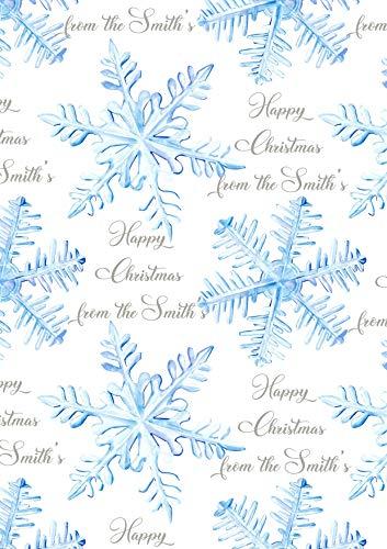 Kerstmis Sneeuwvlok Gift Inpakpapier 90 GSM 1 Meter Sheet Gepersonaliseerd