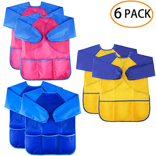 Zkptops 6 Pack Kids Art Smock Colorful Waterproof Children Art Aprons Artist Painting Aprons with Long Sleeve 3 Roomy Pockets for Age 3-8 Years