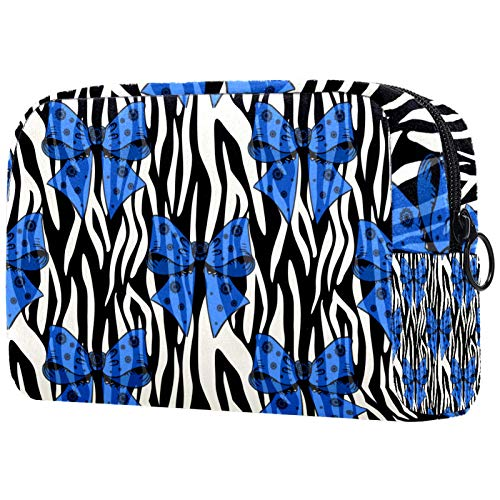 Bolsa de brochas de maquillaje personalizable, portátil, bolsa de aseo para mujer, organizador de viaje, diseño de cebras y lazo